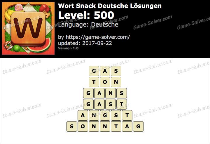Wort Snack Level 500 Lösungen