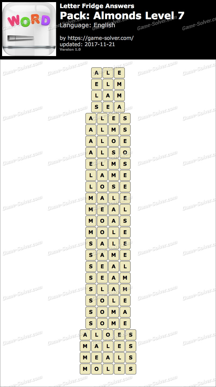 Letter fridge almonds level 7 answers game solver letter fridge almonds level 7 answers aljukfo Gallery