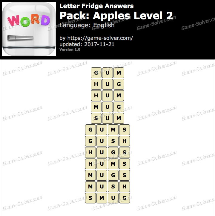 Letter Fridge Apples Level 2 Answers