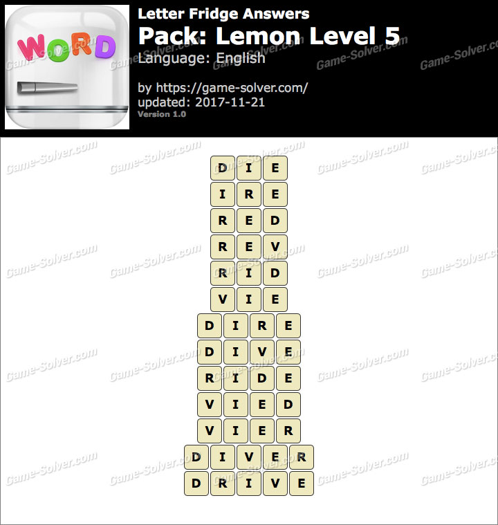 Letter Fridge Lemon Level 5 Answers