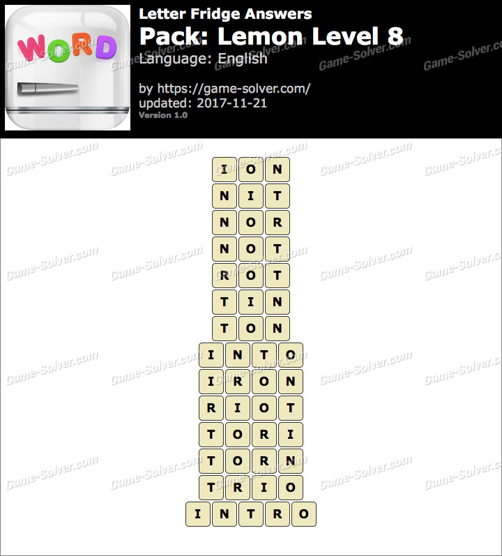 Letter Fridge Lemon Level 8 Answers