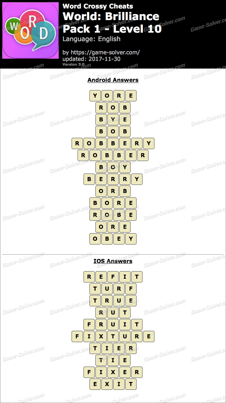 Word Crossy Brilliance Pack 1 Level 10 Answers