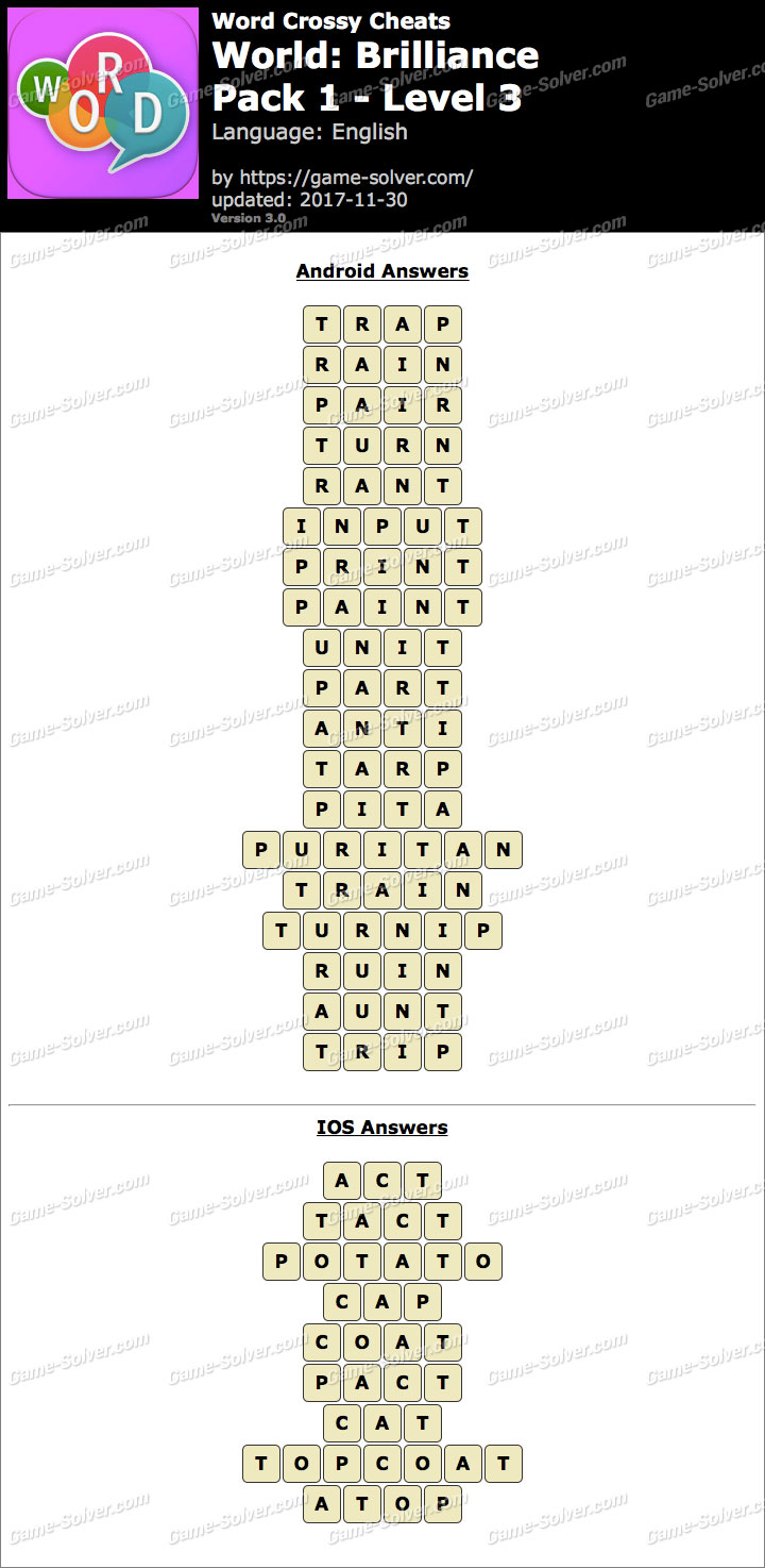 Word Crossy Brilliance Pack 1 Level 3 Answers