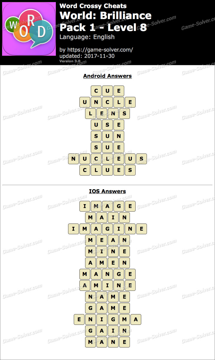 Word Crossy Brilliance Pack 1 Level 8 Answers