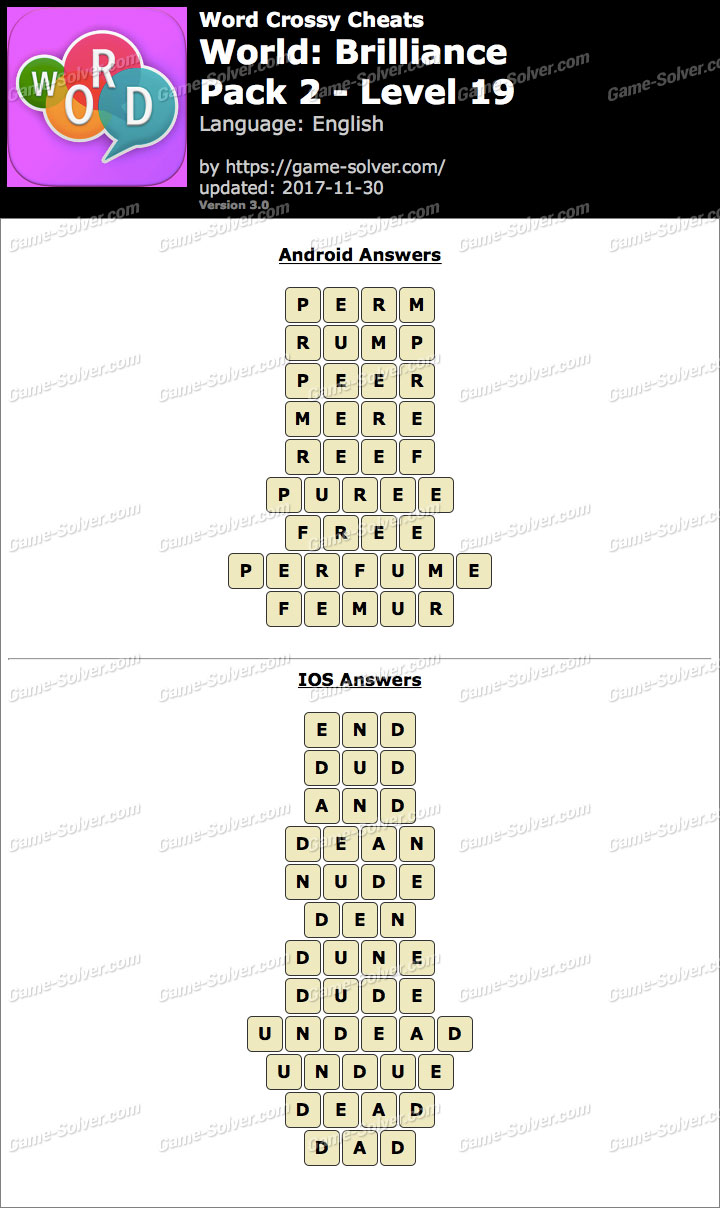 Word Crossy Brilliance Pack 2 Level 19 Answers