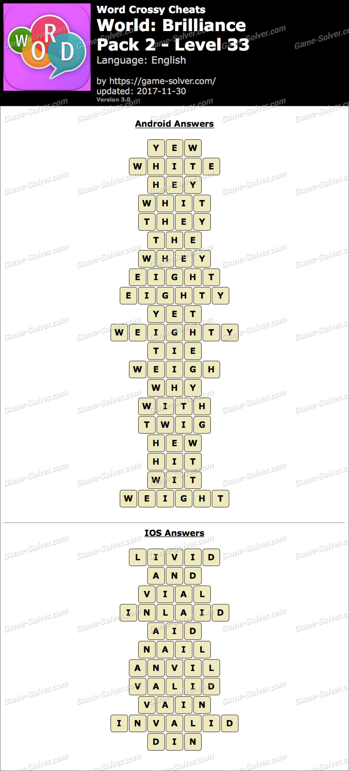 Word Crossy Brilliance Pack 2 Level 33 Answers