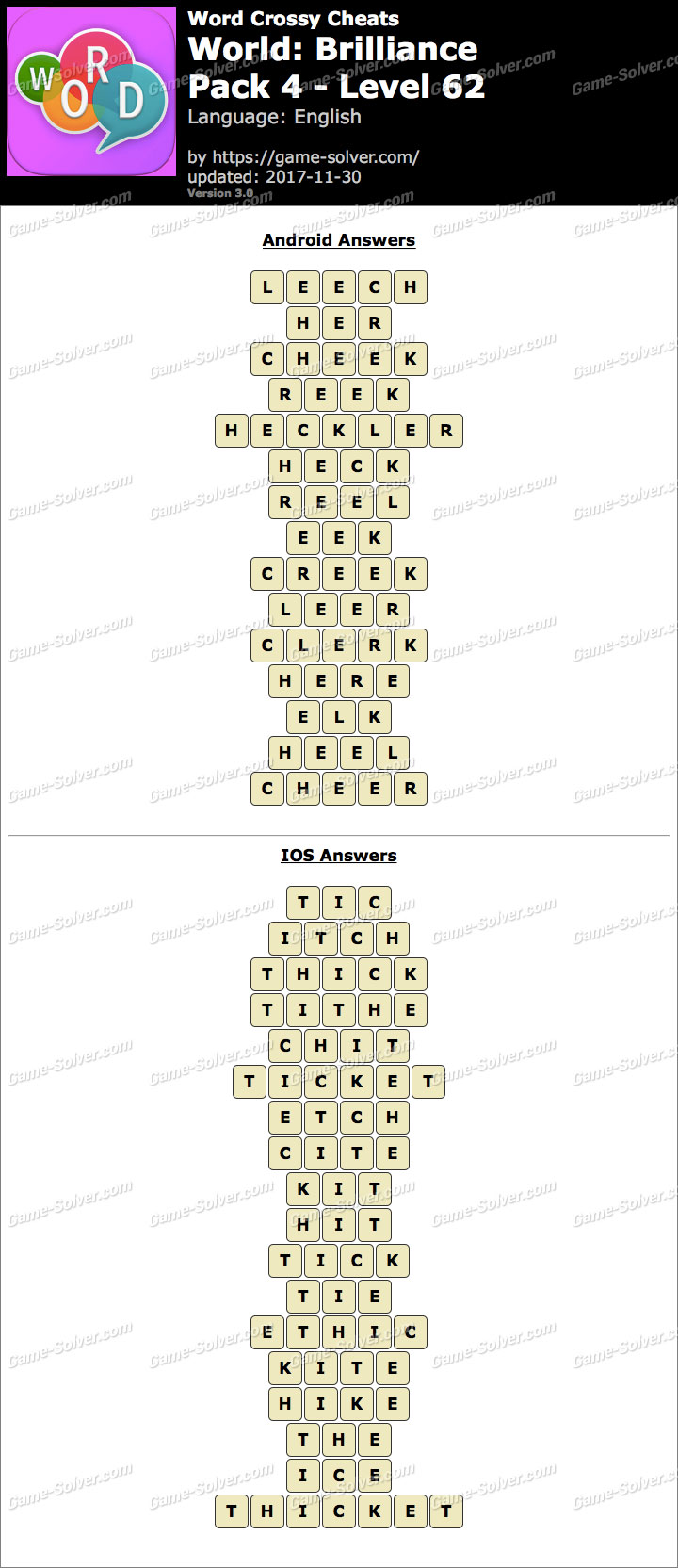 Word Crossy Brilliance Pack 4 Level 62 Answers
