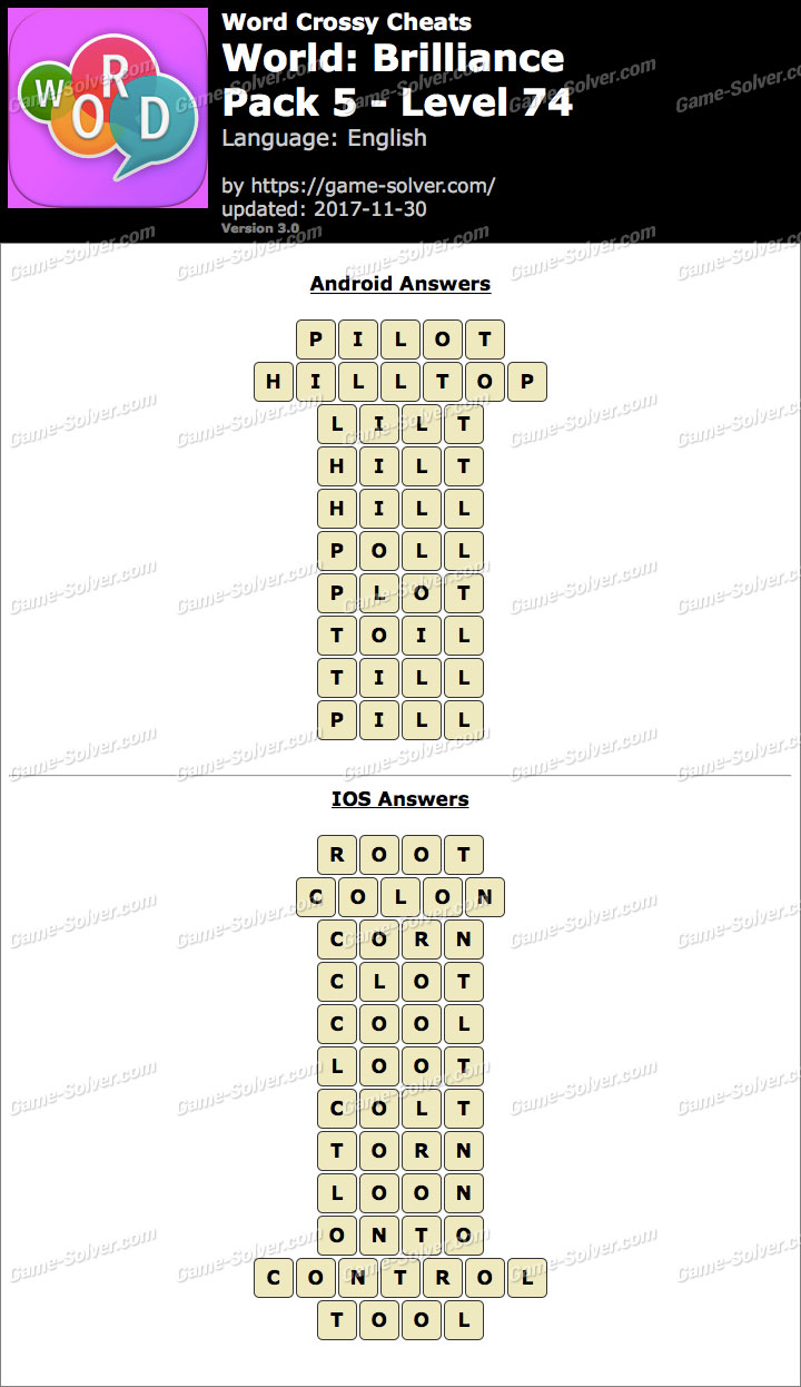 Word Crossy Brilliance Pack 5 Level 74 Answers