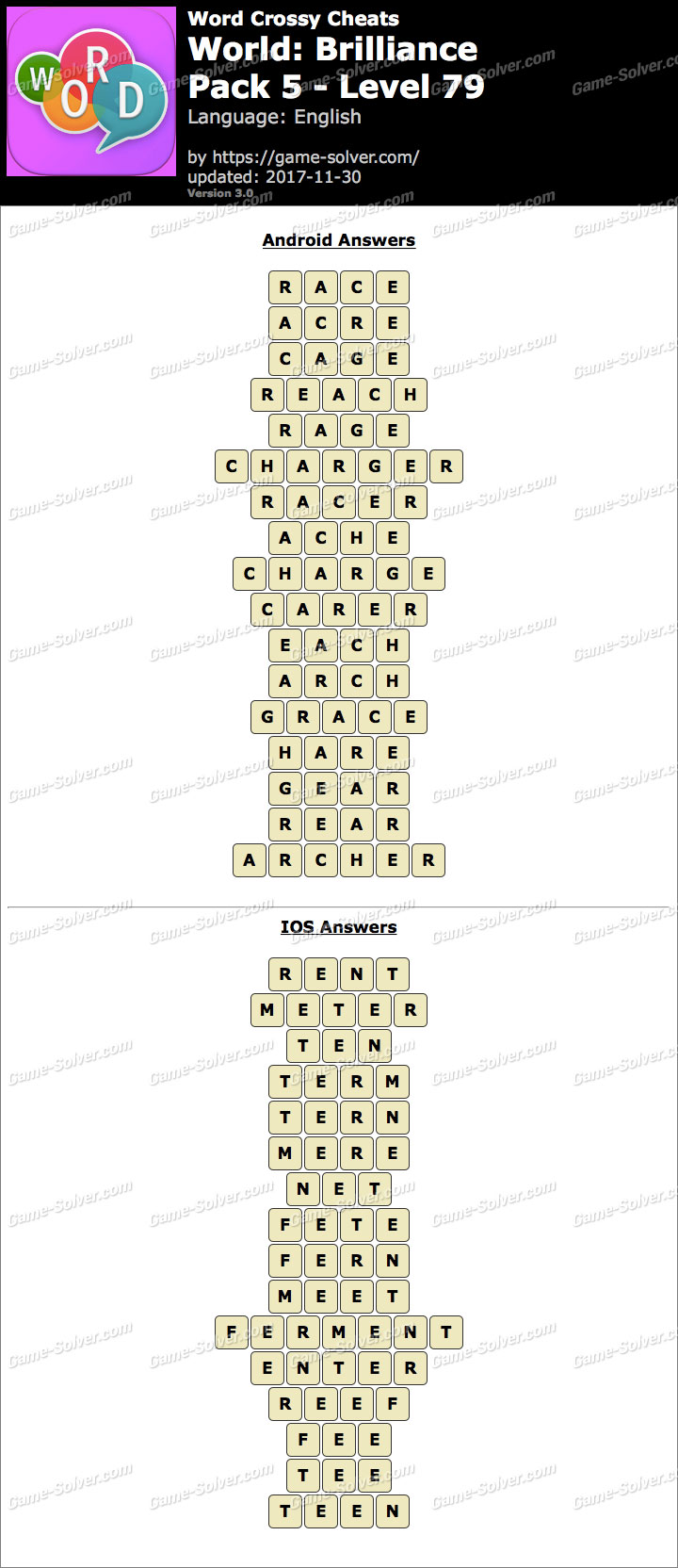 Word Crossy Brilliance Pack 5 Level 79 Answers