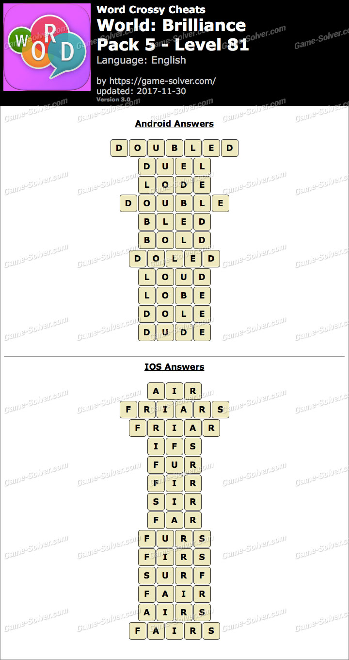 Word Crossy Brilliance Pack 5 Level 81 Answers