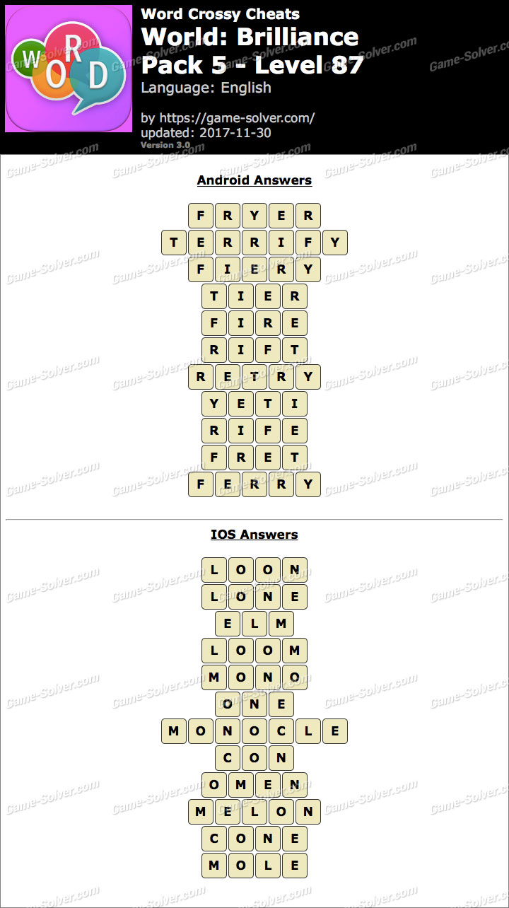 Word Crossy Brilliance Pack 5 Level 87 Answers