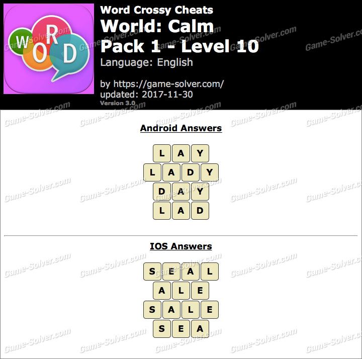 Word Crossy Calm Pack 1 Level 10 Answers