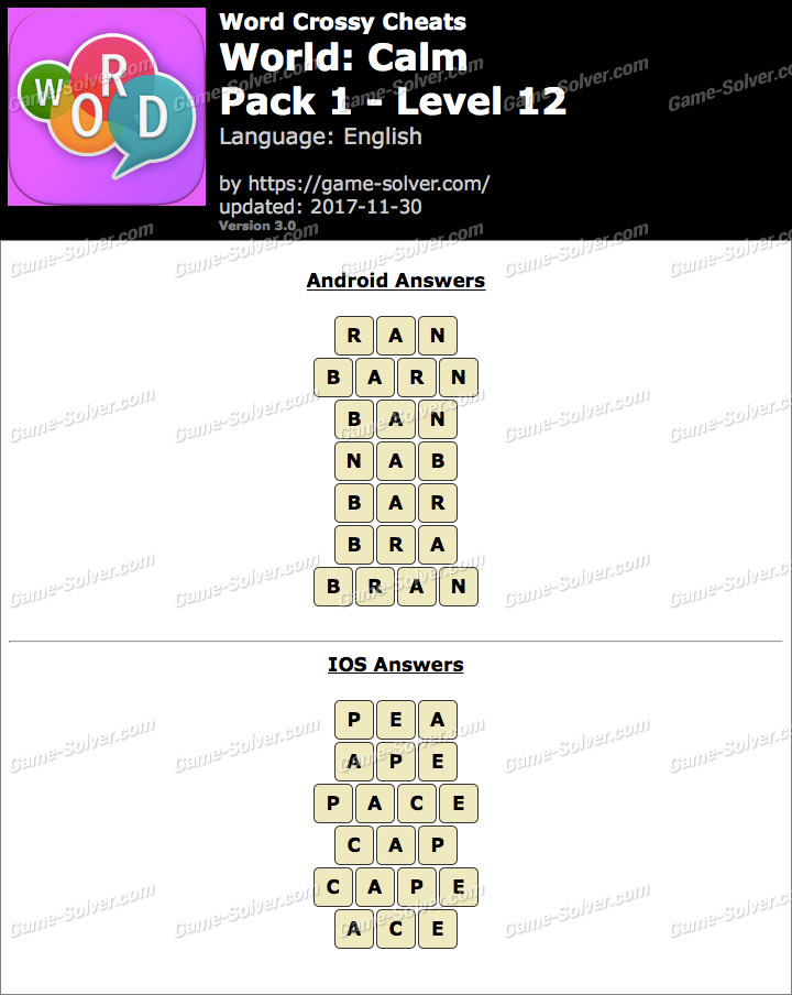 Word Crossy Calm Pack 1 Level 12 Answers