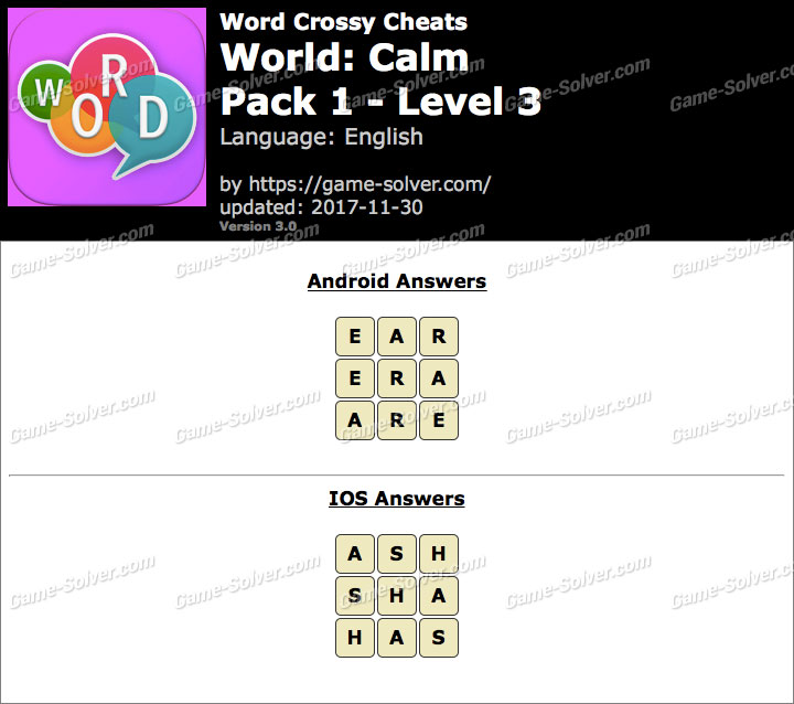 Word Crossy Calm Pack 1 Level 3 Answers