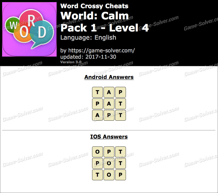 Word Crossy Calm Pack 1 Level 4 Answers