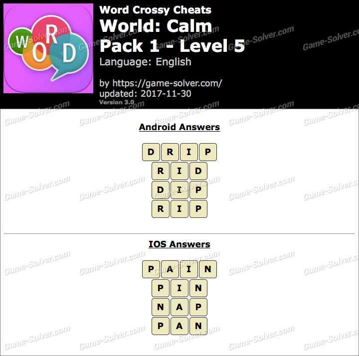 Word Crossy Calm Pack 1 Level 5 Answers