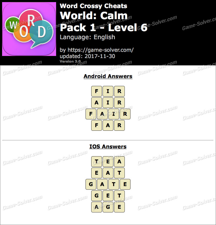 Word Crossy Calm Pack 1 Level 6 Answers