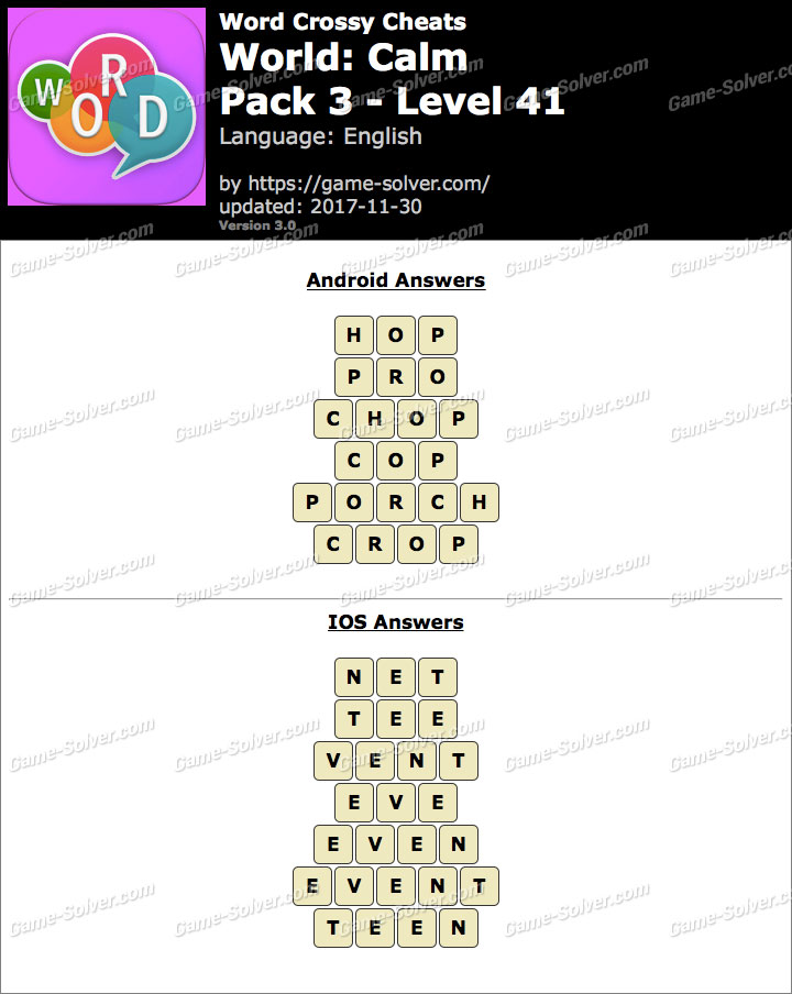 Word Crossy Calm Pack 3 Level 41 Answers