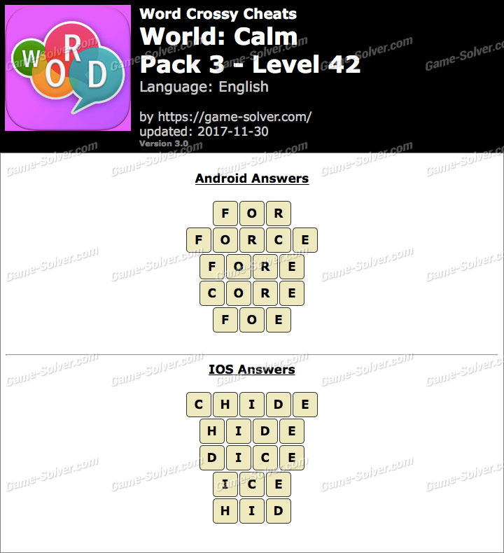 Word Crossy Calm Pack 3 Level 42 Answers
