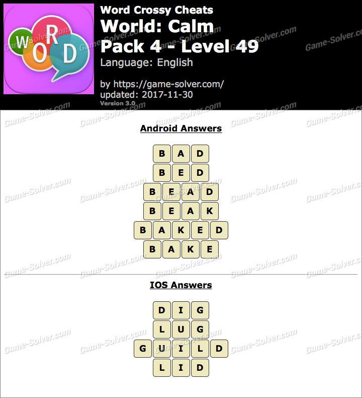 Word Crossy Calm Pack 4 Level 49 Answers