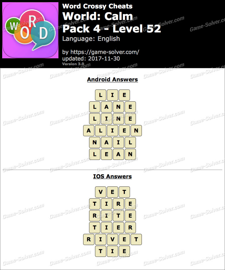 Word Crossy Calm Pack 4 Level 52 Answers
