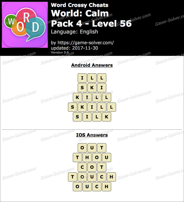 Word Crossy Calm Pack 4 Level 56 Answers