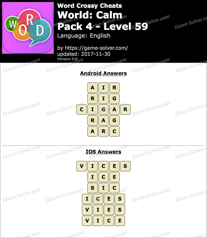 Word Crossy Calm Pack 4 Level 59 Answers