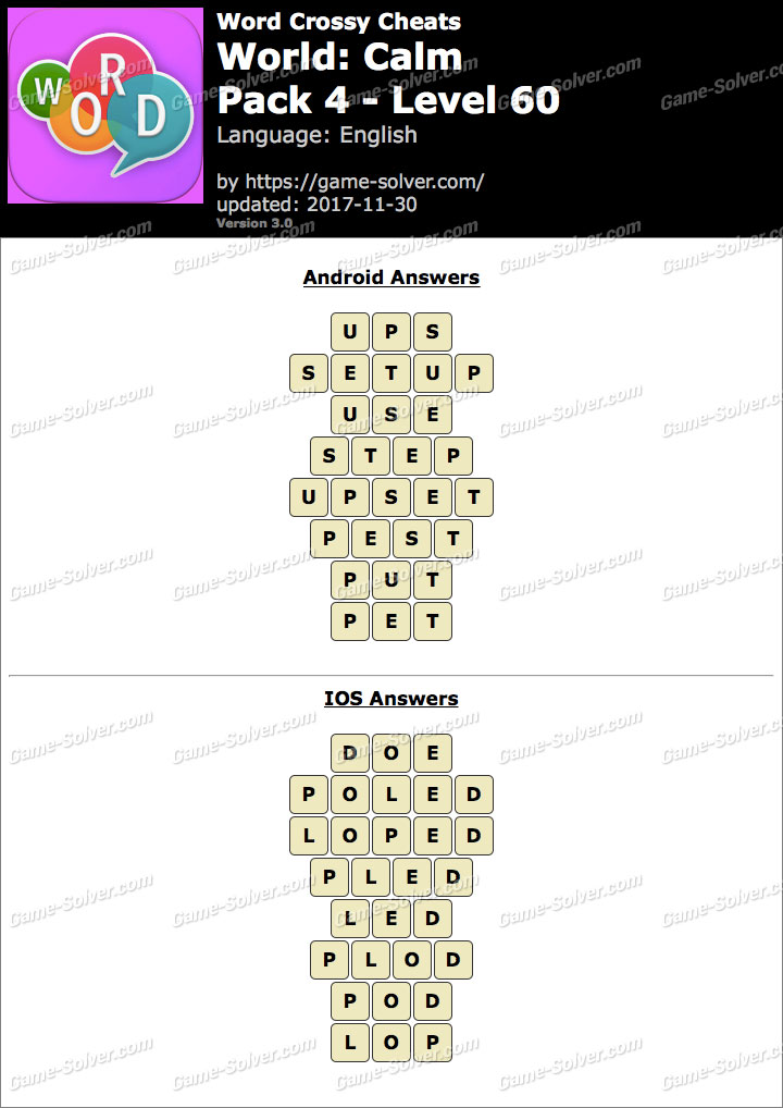 Word Crossy Calm Pack 4 Level 60 Answers