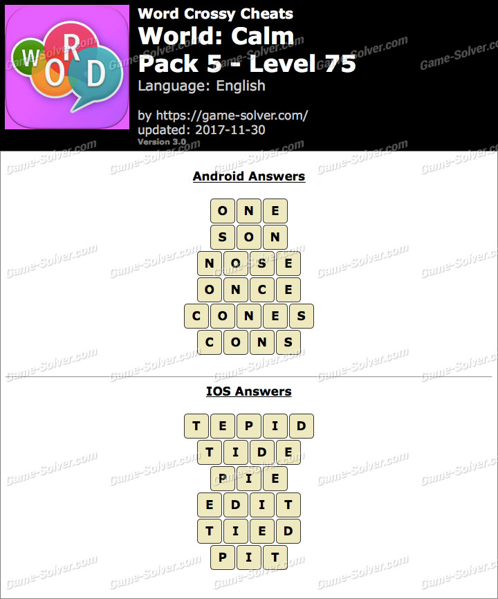 Word Crossy Calm Pack 5 Level 75 Answers