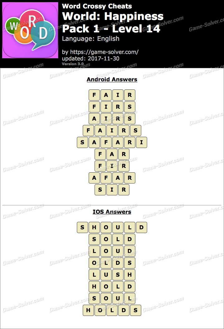 Word Crossy Happiness Pack 1 Level 14 Answers
