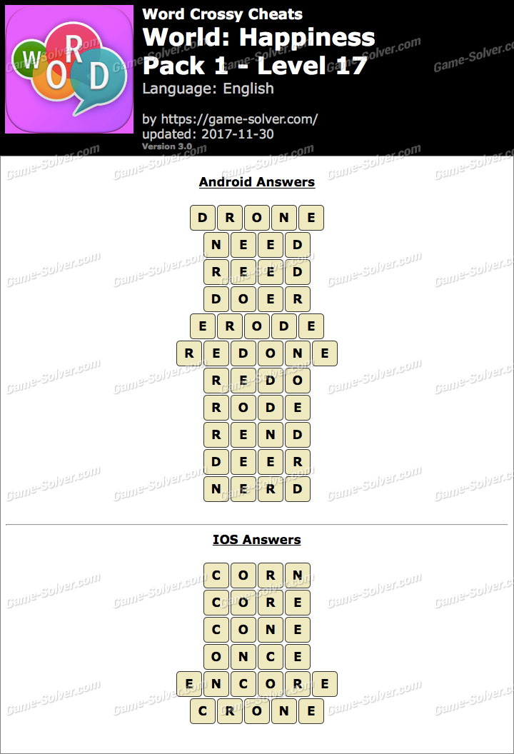Word Crossy Happiness Pack 1 Level 17 Answers