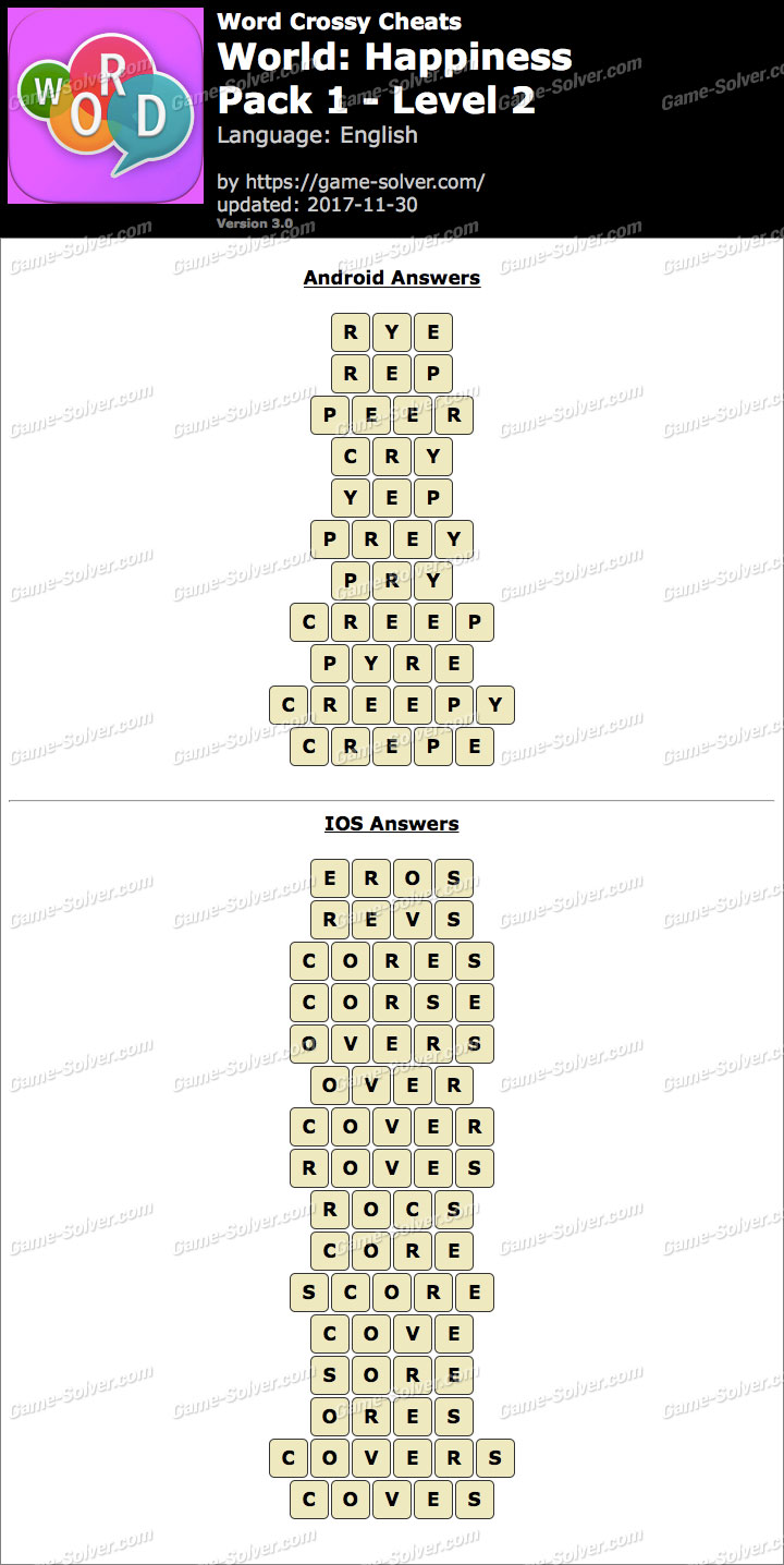 Word Crossy Happiness Pack 1 Level 2 Answers