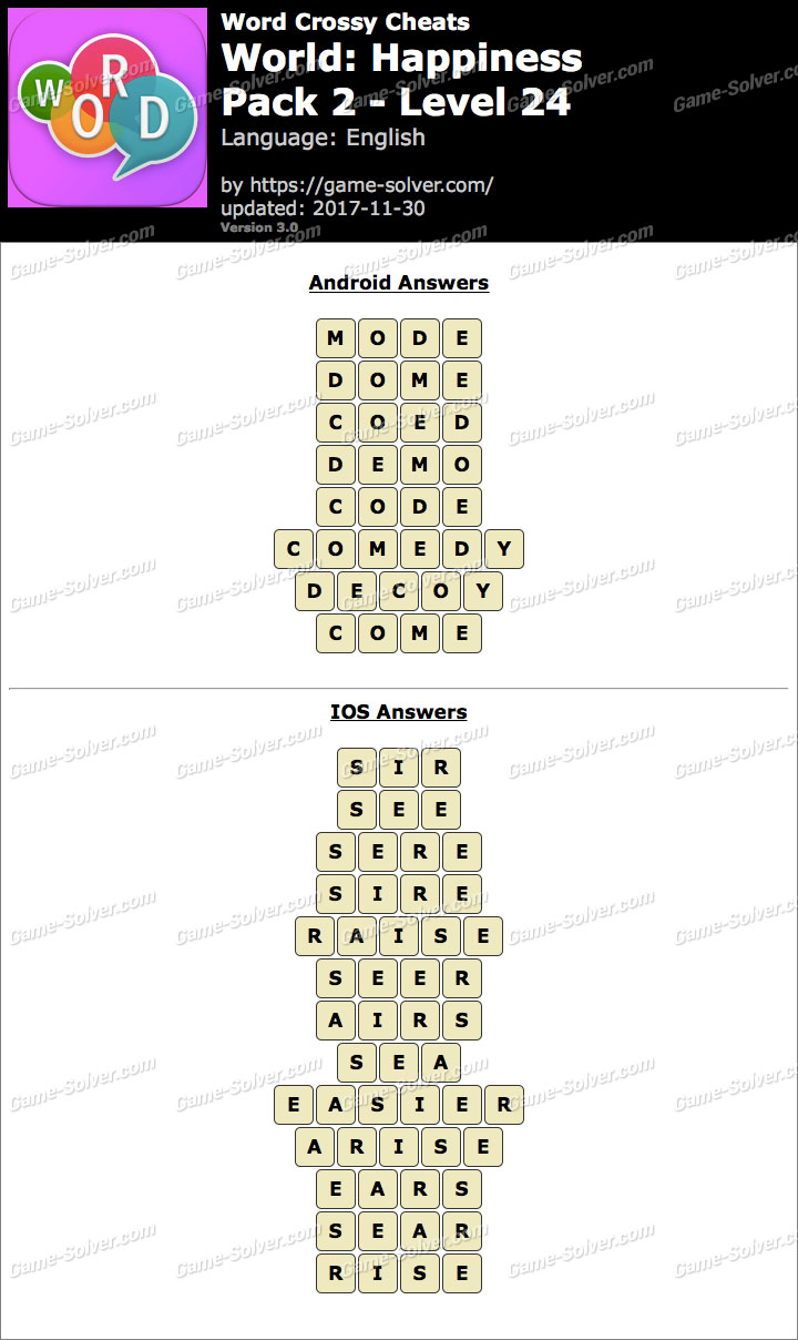 Word Crossy Happiness Pack 2 Level 24 Answers