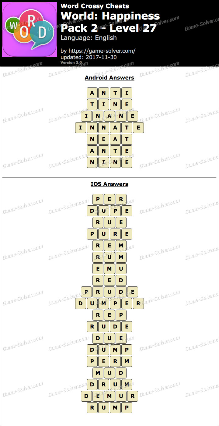 Word Crossy Happiness Pack 2 Level 27 Answers