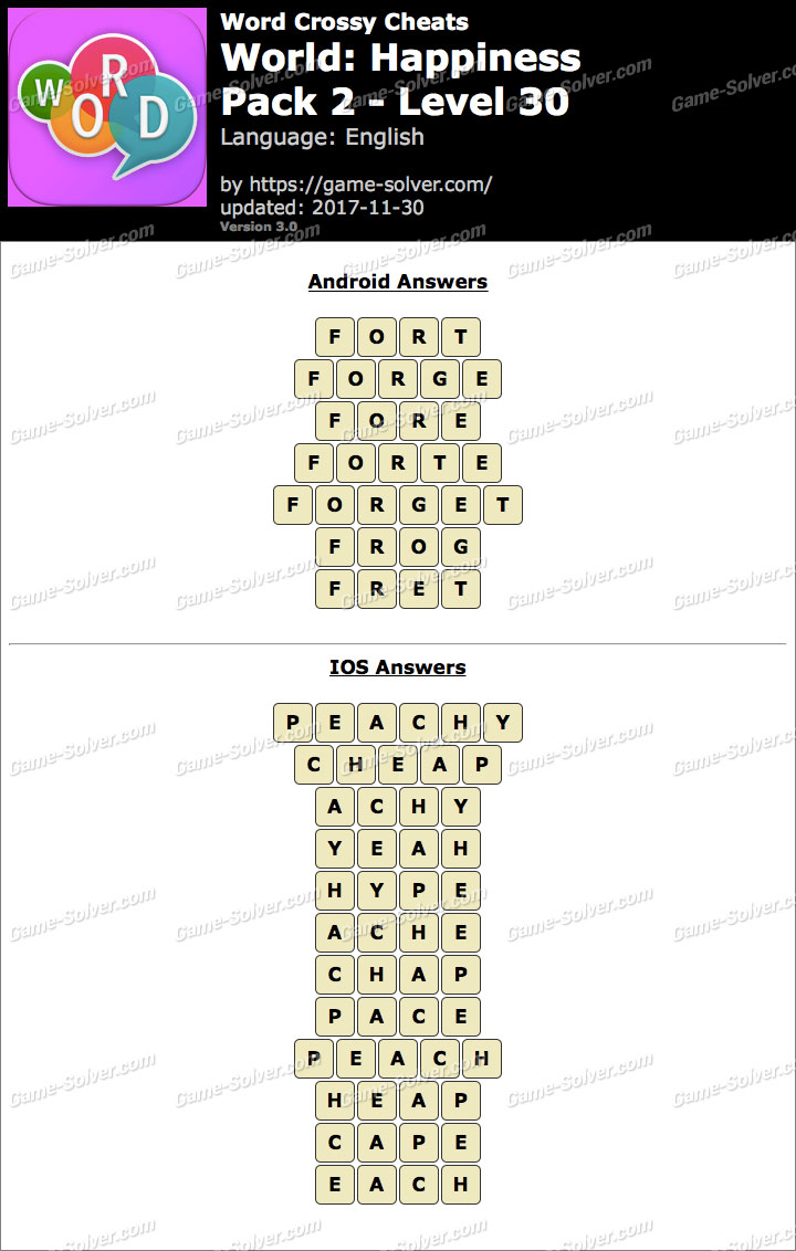 Word Crossy Happiness Pack 2 Level 30 Answers
