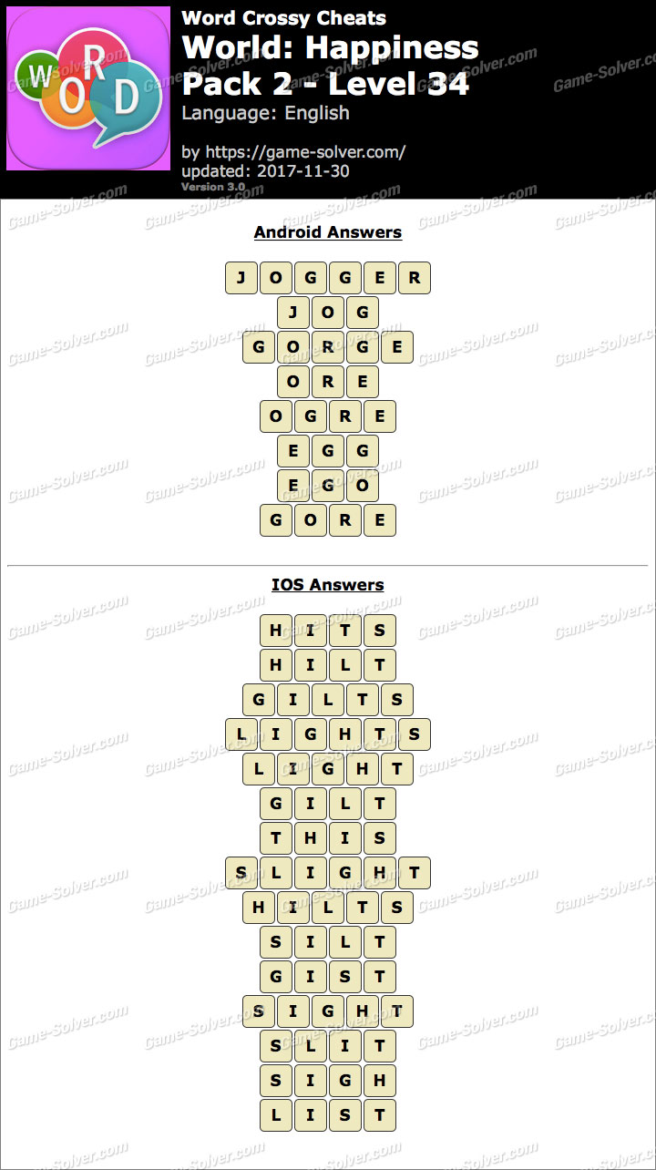 Word Crossy Happiness Pack 2 Level 34 Answers