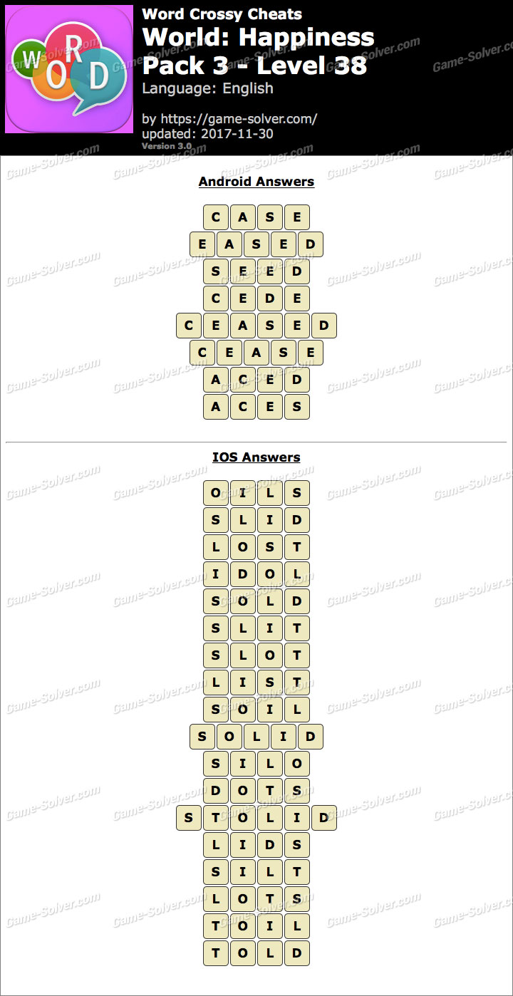 Word Crossy Happiness Pack 3 Level 38 Answers
