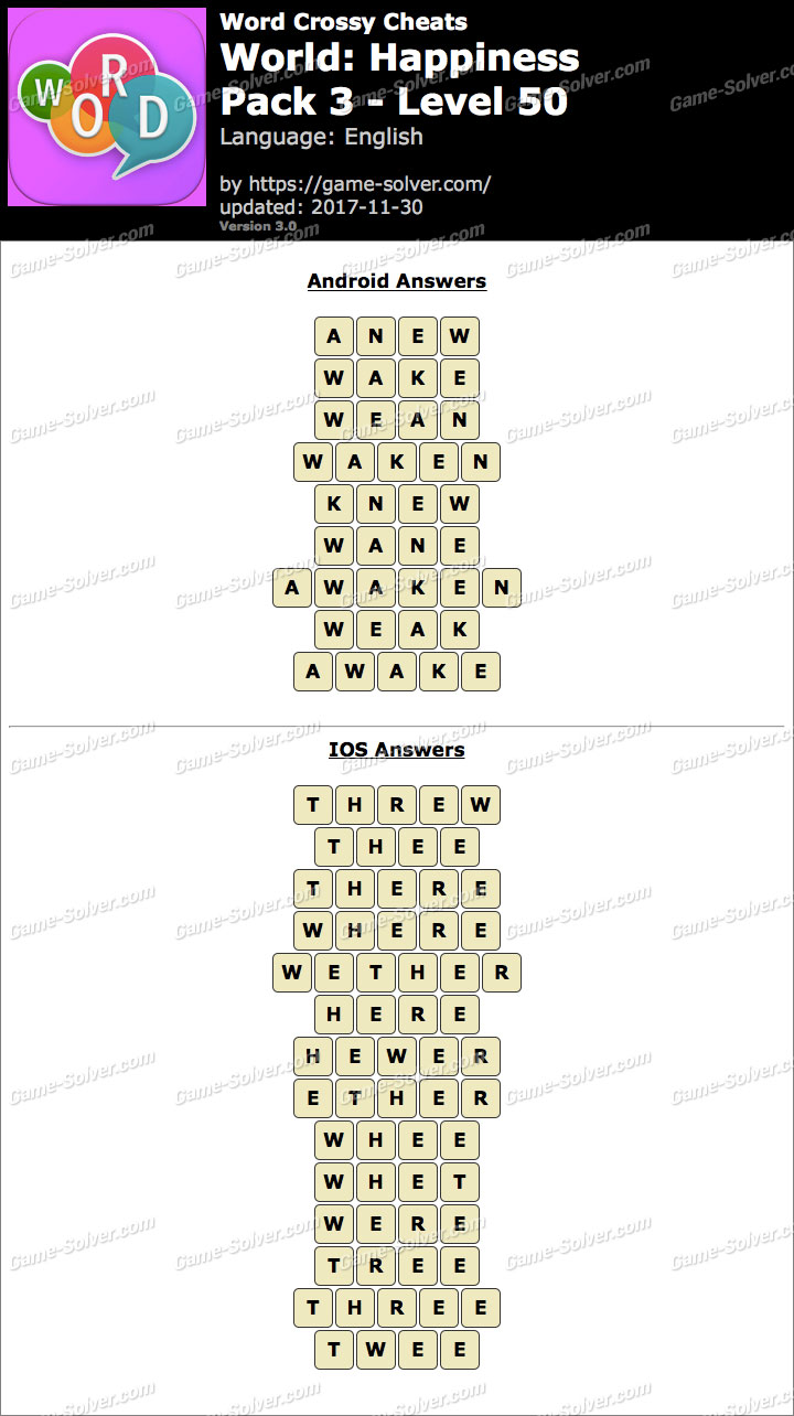 Word Crossy Happiness Pack 3 Level 50 Answers