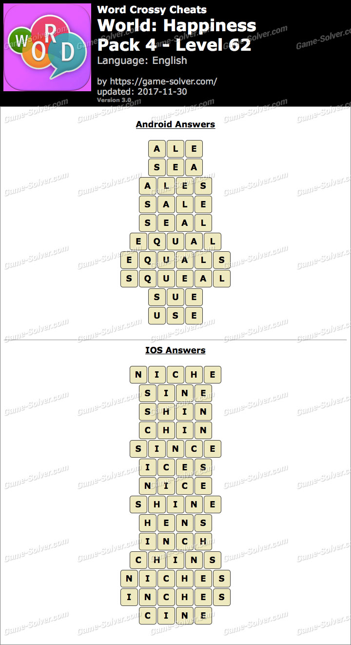 Word Crossy Happiness Pack 4 Level 62 Answers