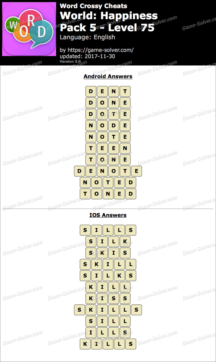 Word Crossy Happiness Pack 5 Level 75 Answers
