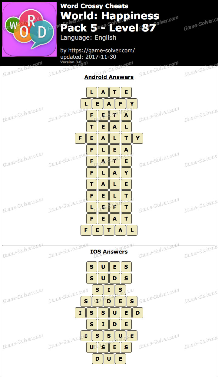Word Crossy Happiness Pack 5 Level 87 Answers