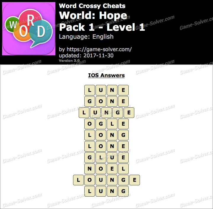 Word Crossy Hope Pack 1 Level 1 Answers