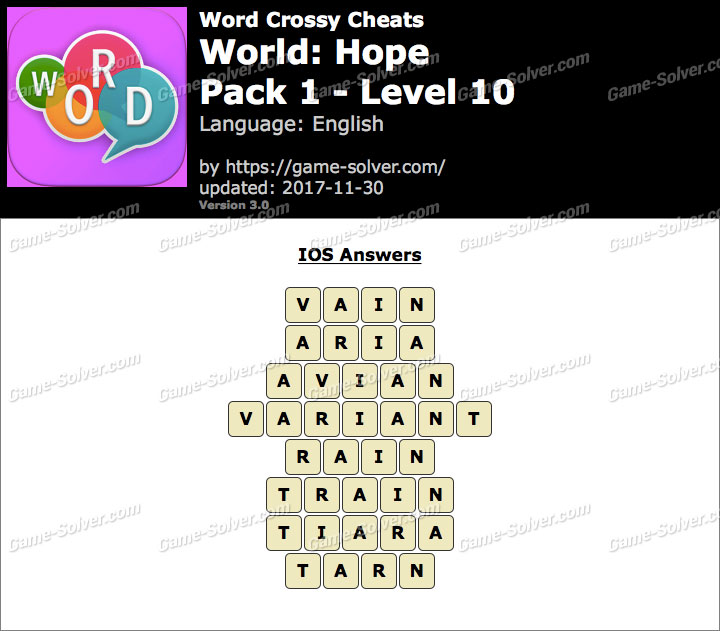 Word Crossy Hope Pack 1 Level 10 Answers