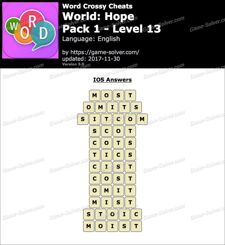 Word Crossy Hope Pack 1 Level 13 Answers