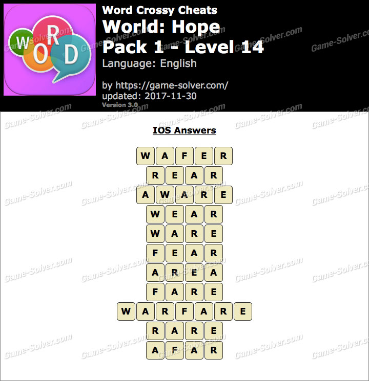 Word Crossy Hope Pack 1 Level 14 Answers