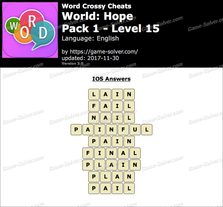 Word Crossy Hope Pack 1 Level 15 Answers