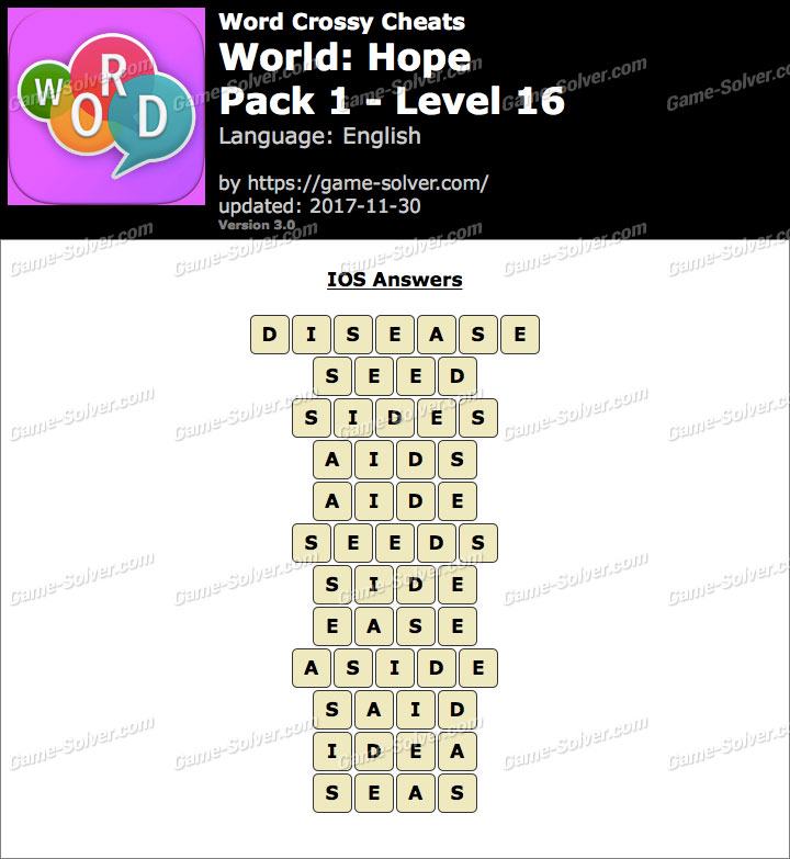 Word Crossy Hope Pack 1 Level 16 Answers