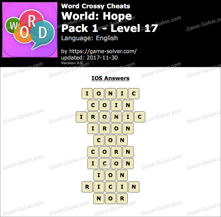 Word Crossy Hope Pack 1 Level 17 Answers