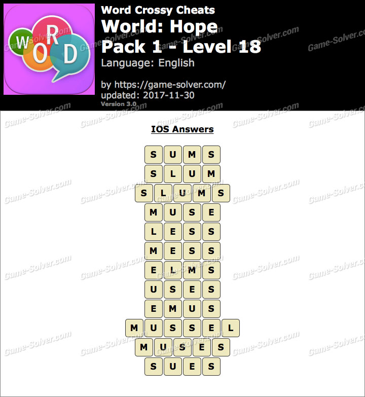 Word Crossy Hope Pack 1 Level 18 Answers