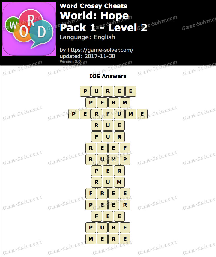 Word Crossy Hope Pack 1 Level 2 Answers